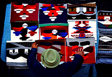 Tapestries For Sale In The Market Of Otavalo, Ecuador